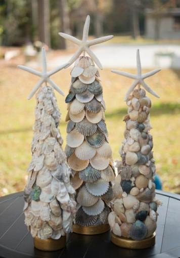 Navidad mar arboles conchas